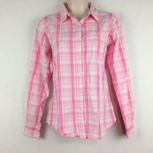 Wrangler Shirt Womens S Button Front Breast Cancer